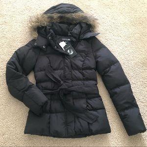 Down Feather Faux Fur Trim Jacket Detachable Hood